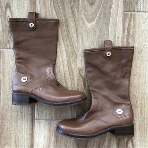 Cole Haan Kody Mid Calf Leather Boots Brown 7.5